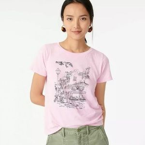 NWT J. Crew French Cafe Knit Short Sleeve T-Shirt Pink Size Small